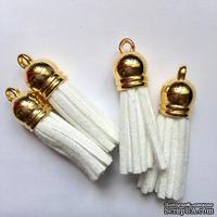 Подвеска - кисточка из замши с золотым наконечником, 35х10 мм, цвет белый
