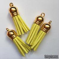 Подвеска - Кисточка из замши с золотым наконечником, 35х10 мм, цвет желтый