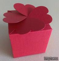 """Подарочная коробочка - """"клевер"""", красная,  sirio tela lampone, 58х58х58 мм, 1 шт."""