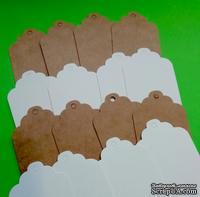 Набор фигурных тегов, 8,5 x 4,4 см, 270г/м2, цвет на выбор: белый, крафт, 10 шт.