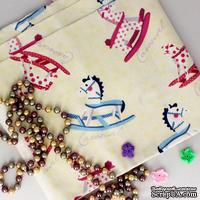 Ткань Оксфорд, Лошадки-качельки, розовые и голубые, 45х55см