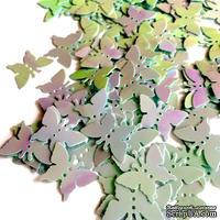 Пайетки-бабочки, плоские, 17 мм, цвет голубой с перламутром, 30 штук в упаковке
