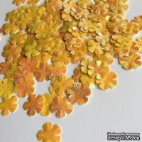 Пайетки объемные в форме цветочков, диаметр 13 мм, цвет оранжевый с перламутром, 30 штук в упаковке
