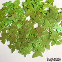 Пайетки-бабочки, плоские, 17 мм, цвет зеленый с перламутром, 30 штук в упаковке