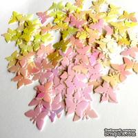 Пайетки-бабочки, плоские, 17 мм, цвет белый с розовым перламутром, 30 штук в упаковке