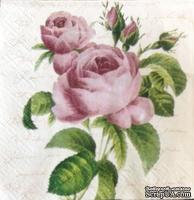 """Салфетка """"Ветка розы"""", цвет фона: кремовый, размер: 25х25 см"""