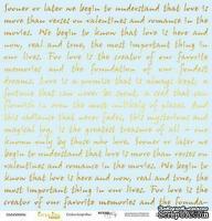 """Лист односторонней бумаги с золотым тиснением от Scrapmir - """"Golden Script Blue"""" из коллекции Every Day, 30x30 см"""