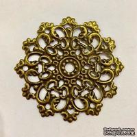"""Металлическое украшение """"Винтажный круг"""", диаметр 60мм, античная бронза, 1 шт.с"""