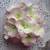 Гортензии из фоамирана,  диаметр 35 мм, цвет белый с розовым, 5 шт.