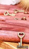"""Металлическое украшение """"Ключик с сердечком 1"""", 16х8 мм, 1 шт."""