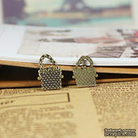 """Металлическое украшение """"Свадебная сумочка"""", 1,9х1,3 см, 1 шт."""