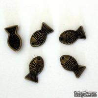 """Металлическое украшение """"Маленькие рыбки"""", 14х7 мм, 1 шт."""
