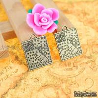 """Металлическое украшение """"Почтовая марка - Королева Англии"""", 25х19 мм, 1 шт."""