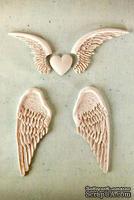 Набор гипсовых украшений от Prima - Shabby Chic Resin Treasures Angel Wings - Ангельские крылья, 5 шт.