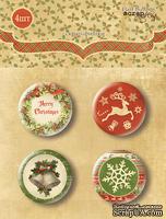 Набор скрап-фишек для скрапбукинга  от Scrapmir - Christmas Night, 4 шт