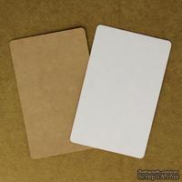 """Тег """"Прямоугольный"""" из двухстороннего картона (крафт и белый), 8,6*5,4 см, 1 шт."""