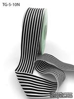 Лента1.5 Inch Grosgrain MultiColor Striped Ribbon with Woven Edge, цвет белый/черный, ширина 38мм, длина 90 см