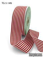 Лента1.5 Inch Grosgrain MultiColor Striped Ribbon with Woven Edge, цвет белый/красный, ширина 38мм, длина 90 см - ScrapUA.com
