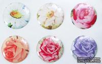 """Готовые эпоксидные украшения-наклейки """"Цветочное настроение"""", диаметр 2,5 см, 6 штук"""