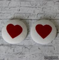 Тканевые топсы от  Allmacraft - серия Тематические, Сердечко, диаметр 2,5 см, 2 штуки