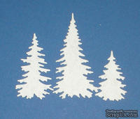 Высечки от Gallery Tools - Три елочки белые, 2,9; 4,5; 6,6 см