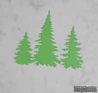 Высечки от Gallery Tools - Три елочки светло-зеленые, 2,9; 4,5; 6,6 см