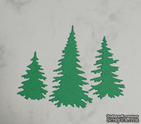 Высечки от Gallery Tools - Три елочки темно-зеленые, 2,9; 4,5; 6,6 см
