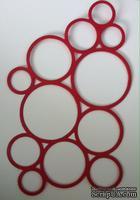Вырубка картона - Каскад из колец, приблизительные размеры в см: 10,5 x 15,3 цвет красный