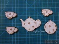 Деревянное украшение от Вензелик - Чайный набор в горошек, фанера толщиной 0,4 см