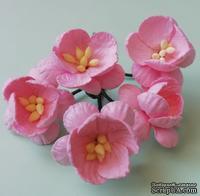 Цветы вишни, цвет розовый, диаметр - 25мм, 5 шт. - ScrapUA.com