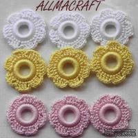 Вязаный мотив от Allmacraft - цветочки в наборе, белый-желтый-розовый, 2.5 см, 9 шт.