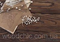 Чипборд Завиток с листиками большой от WOODchic, 8х5.5см