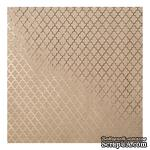 Крафт-картон с золотым тиснением - Gold Lattice - Bazzill Foiled Kraft Cardstock - Gold Lattice, размер 30х30, 1 лист - ScrapUA.com