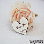 Сердечко деревянное: Love You, 3х3,3см - ScrapUA.com