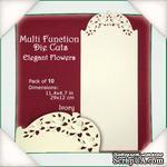 Заготовки для открытки от Flower Soft - Function Die Cut Cards - Elegant Flowers - Ivory, 29x12см - ScrapUA.com