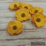 Набор бумажных цветов от Scrap Klumba, желтые, 6 шт., диаметр 2,8 см - ScrapUA.com