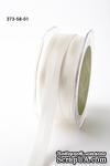 Репсово-сатиновая лента - Двойная полоса - белая, ширина - 16 мм, длина 90 см - ScrapUA.com