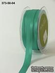 Репсово-сатиновая лента - Двойная полоса - зеленая, ширина - 16 мм, длина 90 см - ScrapUA.com