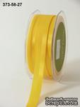 Репсово-сатиновая лента - Двойная полоса - желтая, ширина - 16 мм, длина 90 см - ScrapUA.com