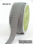 Лента Twill and Stripes, цвет черный/белый, ширина 1,9 см, длина 90 см - ScrapUA.com