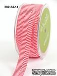 Лента - TWILL/STRIPES - красный, ширина - 19 мм, длина 90 см - ScrapUA.com