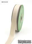Лента Twill and Stripes, цвет светло-коричневый/белый, ширина 1,9 см, длина 90 см - ScrapUA.com