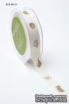 Хлопковая принтованная лента с ракушками и печатью от May Arts, ширина - 19 мм, длина 90 см - ScrapUA.com