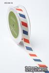 Хлопковая принтованная лента т May Arts - Ivory canvas - красная, синяя,белая, ширина - 19 мм, длина 90 см - ScrapUA.com