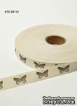 Хлопковая принтованная лента с бабочками от May Arts, ширина - 19 мм, длина 90 см - ScrapUA.com