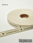 """Хлопковая принтованная лента с надписью """"Handmade with Love"""", ширина - 19 мм, длина 90 см - ScrapUA.com"""