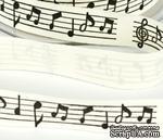 Лента Solid Ivory - Black & Gold Print Black Music Notes, ширина 19 мм, длина 90 см - ScrapUA.com