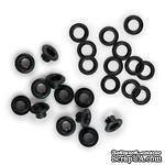 Люверсы и кольца от  WeRM -3/16,  цвет черный, 30 шт. - ScrapUA.com