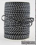 Лента от May Arts - Solid/Diagonal Stripes Black, цвет черный/белый, ширина 3 мм, длина 90 см - ScrapUA.com
