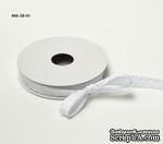 Сатиновая лента с узловатой кромкой - белая, ширина - 10 мм, длина 90 см - ScrapUA.com